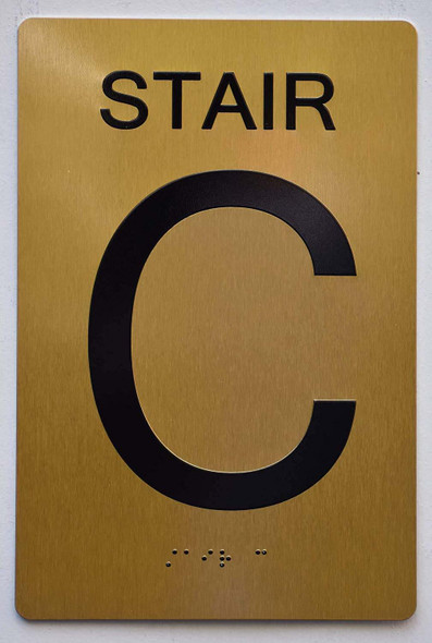 Stair C Sign- Gold ,