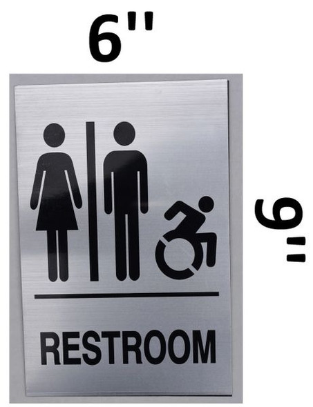UNISEX ACCESSIBLE RESTROOM SIGN Tactile Signs