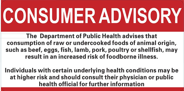 Restaurant Consumer Advisory Signage