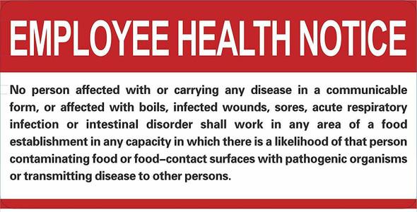 Restaurant/Food Facility Employee Health Notice Signage
