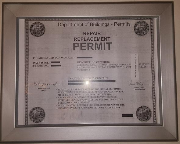 Permit frame city of Chicago 8.5 x 11