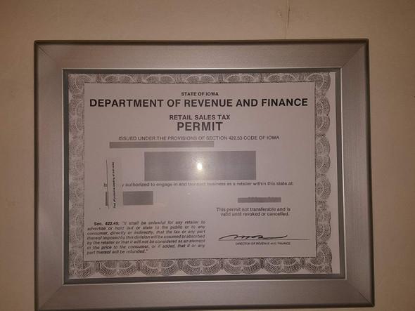 Iowa Permit frame 8.5 x 11