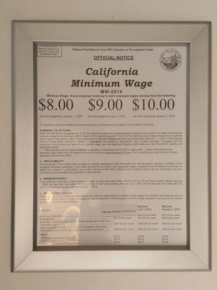 CALIFORNIA MINIMUM WAGES NOTICE 8.5 x 11