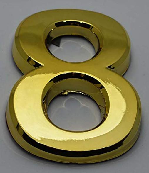 Apartment Number Sign/Mailbox Number Sign, Door Number Sign. Number 8 GoldGold,3D,