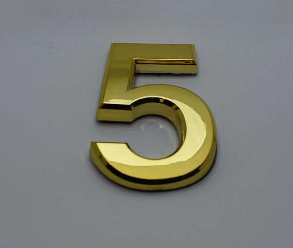 Apartment Number Sign/Mailbox Number Sign, Door Number Sign. Number 5 GoldGold,3D,