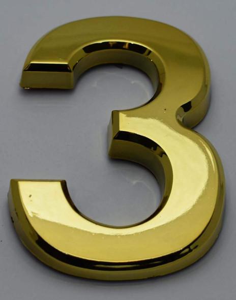 Apartment Number Sign/Mailbox Number Sign, Door Number Sign. Number 3 Gold,3D,