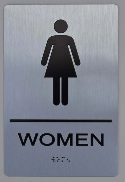 WOMEN Restroom Sign  Braille sign -Tactile Signs  The sensation line   Braille sign