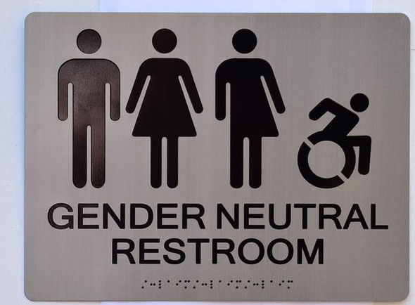 GENDER NEUTRAL UNISEX ACCESSIBLE RESTROOM Sign -Tactile Signs   Ada sign