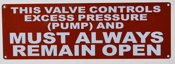 This Valve Controls Excess Pressure (Pump) and Must Always Remain Open