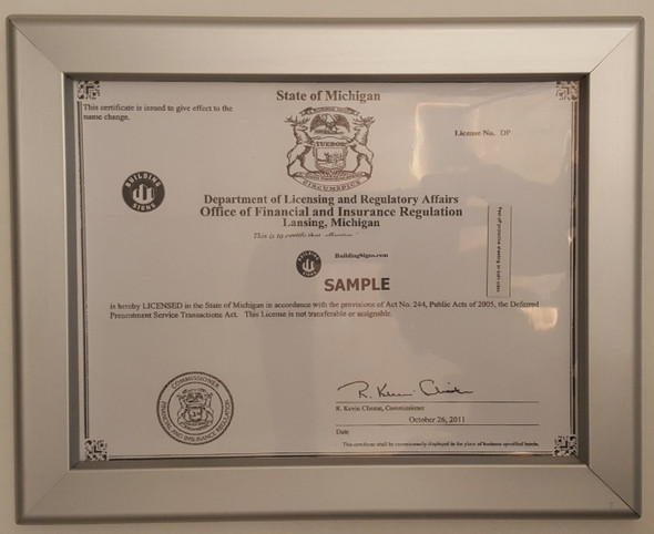 Business license frame MI 8.5x11