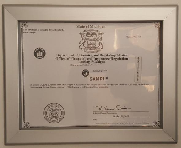 Business license frame MI Building Frame