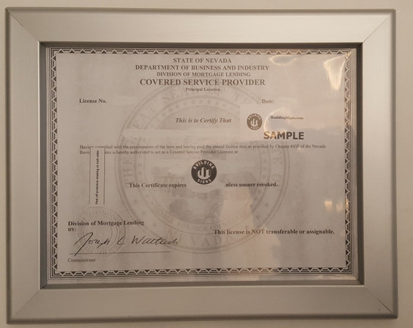 Business License Certificate Frame NV 8.5x11
