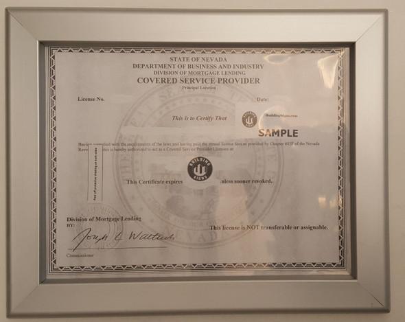 Business License Certificate Frame NV Building Frame