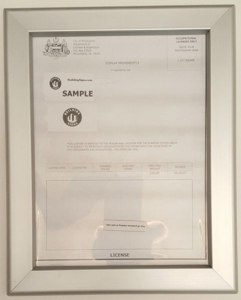 Business license frame PA 8.5x11
