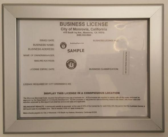Business License Frame CA Building Frame