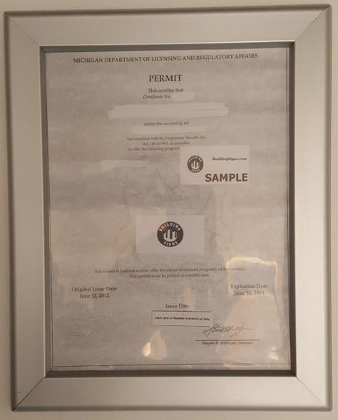 Permit frame MI 8.5 x 11
