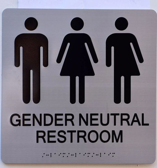 GENDER NEUTRAL UNISEX RESTROOM ADA SIGN Tactile Signs Ada sign