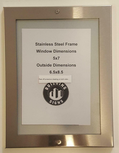 buildingsigns.com Elevator Permit Frame 5x7 Stainless