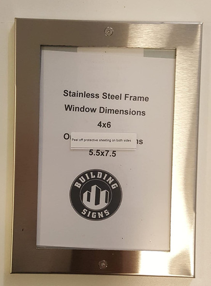 Elevator Permit Frame 4x6 Stainless Steel