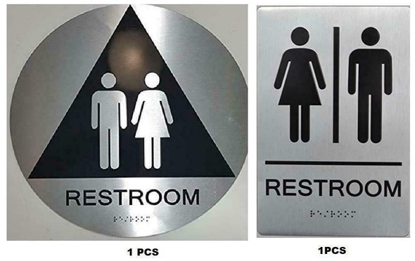 California Title 24 Geometric All Gender Restroom Sign Paired Set  - Tactile Signs The Sensation line  Braille sign