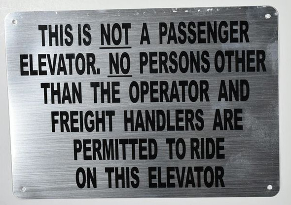 Freight Elevator Sign Silver,,