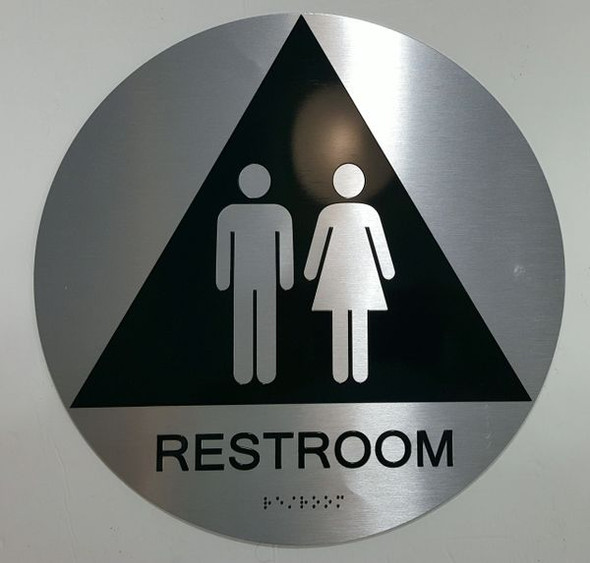 UNISEX RESTROOM ADA Sign -Tactile Signs The sensation line  Ada sign