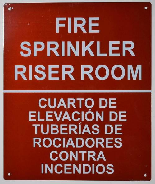 FIRE Sprinkler Riser Room Bilingual Sign