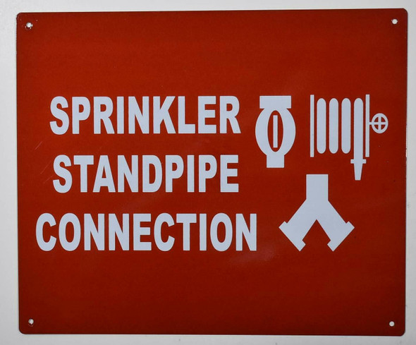 Sprinkler Standpipe Connection Sign with symbol