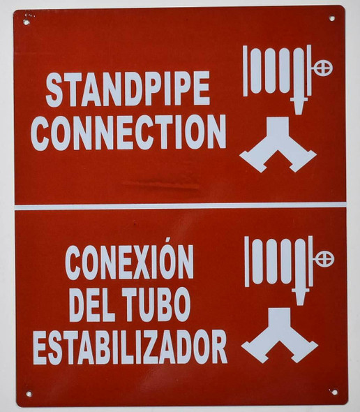 Standpipe Connection with Symbol Bilingual Sign