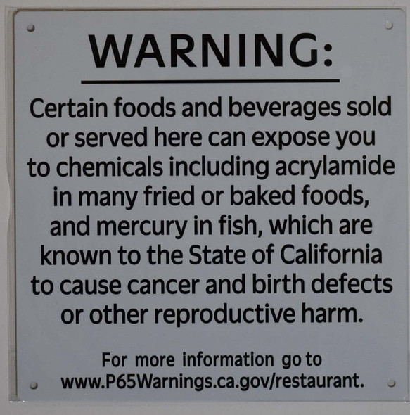 Warning California Prop 65 Certain Food and Beverages Sold or Served here can Expose You to