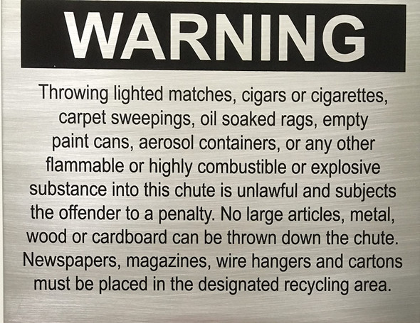 Chute SIGNAGE - Warning - Delicato line - Brushed Aluminum