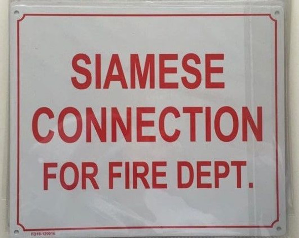 SIAMESE CONNECTION FOR FIRE DEPARTMENT -SIGNAGE