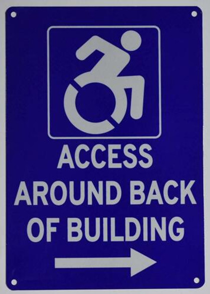 ACCESSIBLE Entrance Around Back of Building Left Arrow Signage-The Pour Tous Blue LINE