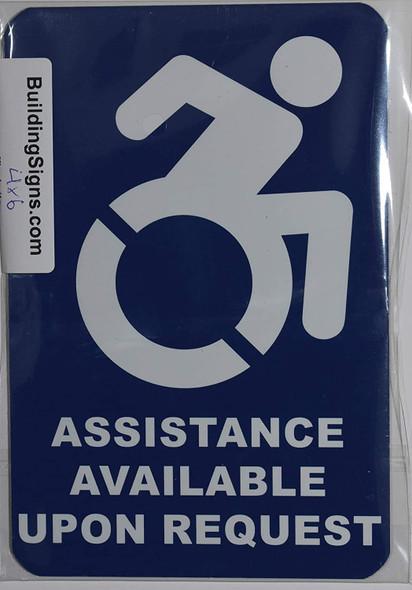 Assistance Available Upon Request Sign -The Pour Tous Blue LINE