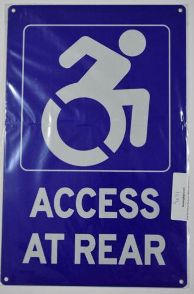 Access at Rear SIGN Tactile Signs -The Pour Tous Blue LINE  Braille sign