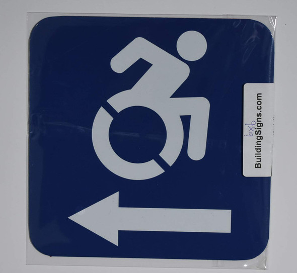 ADA-ACCESSIBLE Symbol Left Arrow SIGN -Tactile Signs  -The Pour Tous Blue LINE  Braille sign