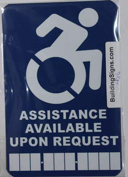 Assistance Available Upon Request Sign with Phone Number Tactile Signs -The Pour Tous Blue LINE  Braille sign