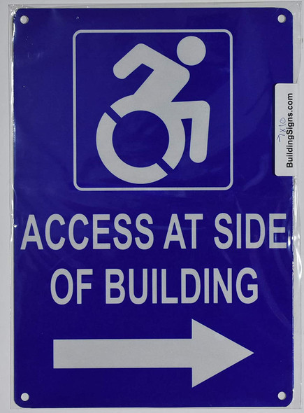 Access at Side of Building Right Arrow SIGN -Tactile Signs  -The Pour Tous Blue LINE  Braille sign