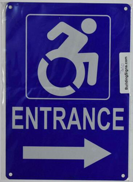ADA ACCESSIBLE Entrance Arrow Right Sign