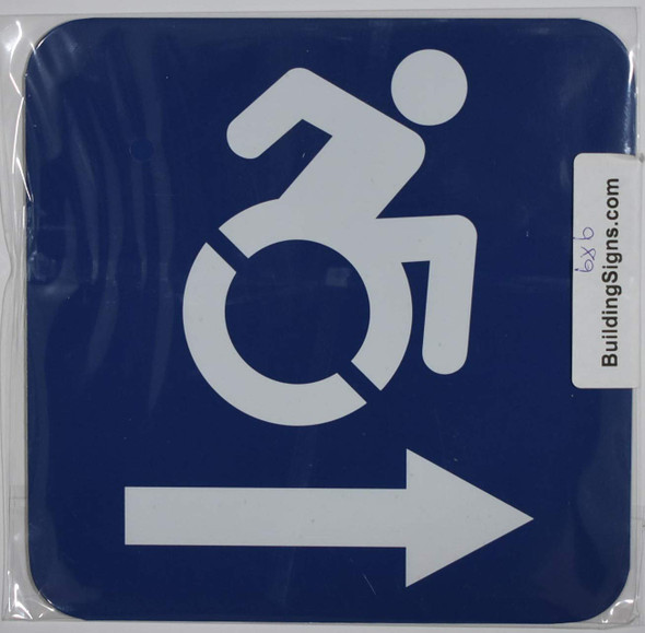ADA-ACCESSIBLE Symbol Right Arrow SIGN -Tactile Signs  -The Pour Tous Blue LINE Ada sign
