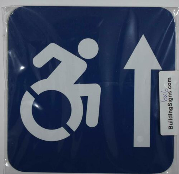 ADA-ACCESSIBLE Symbol Forward Arrow SIGN -Tactile Signs  -The Pour Tous Blue LINE  Braille sign