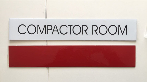 COMPACTOR ROOM SIGNAGE (WHITE)