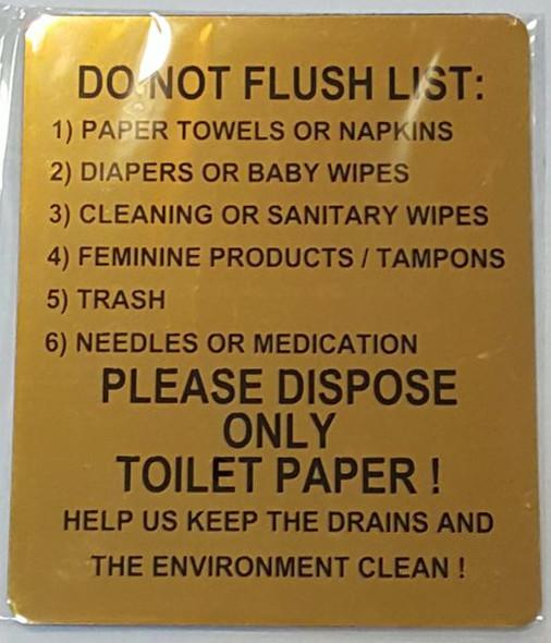 DO NOT FLUSH LIST SIGN for Building