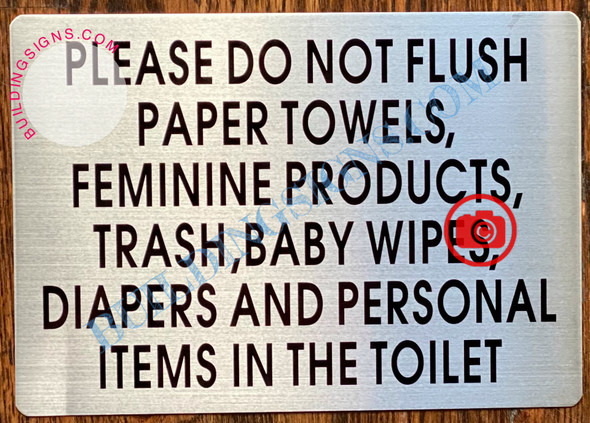 PLEASE DO NOT FLUSH THESE ITEMS SIGN