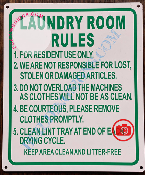 LAUNDRY ROOM RULES SIGN