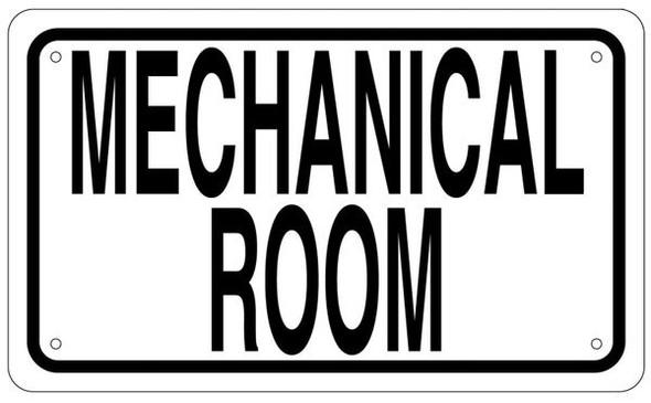 MECHANICAL ROOM SIGN - WHITE ALUMINUM (WHITE,ALUMINUM SIGNS)