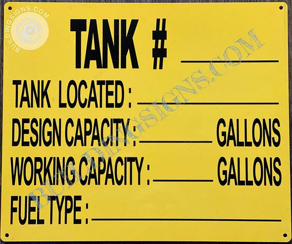 Tank #- Tank Capacity Signage