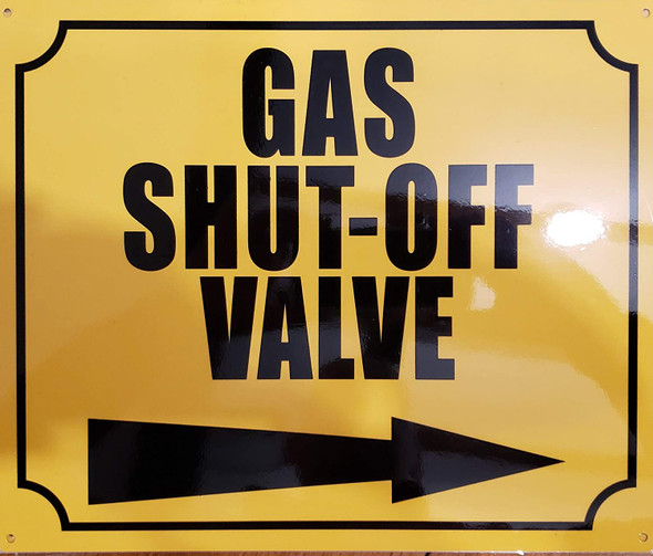 Gas Shut Off Valve with Right Arrow Signage