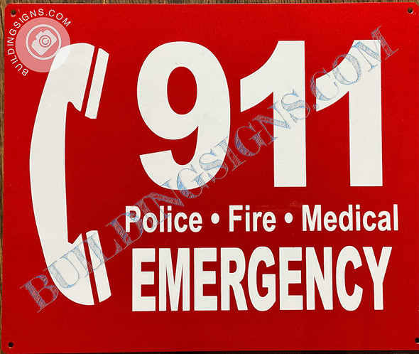 Sign 911 Emergency