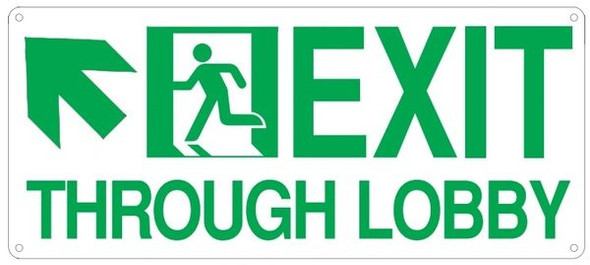 "PHOTOLUMINESCENT EXIT THROUGH LOBBY Sign/ GLOW IN THE DARK ""EXIT THROUGH LOBBY"" Sign"